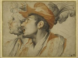 Grotesquerie of Two Fashionably Dressed Men Singing by Camillo Procaccini