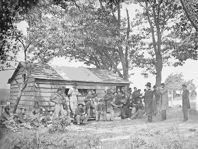 Camp Scene at a Sutler's Store During American Civil War-Stocktrek Images-Photographic Print