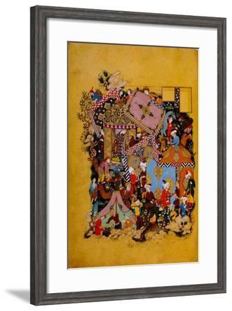 Camp Scene Majun Spies on His Beloved Layla--Framed Art Print