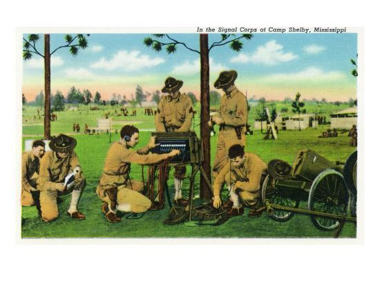 Camp Shelby, Mississippi, View of Soldiers in the Signal Corps-Lantern Press-Art Print