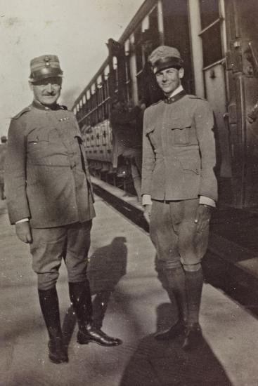 Campagna Di Guerra 1915-1916-1917-1918: Jack Bosio in Uniform with an Officer in Udine--Photographic Print