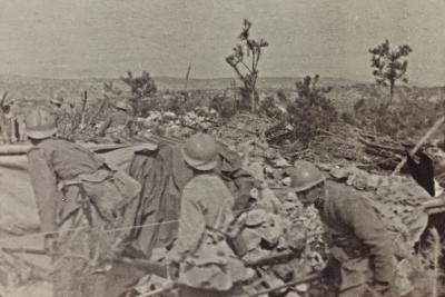 Campagna Di Guerra 1915-1916-1917-1918: Soldiers in the Trenches on Monte Cosich--Photographic Print