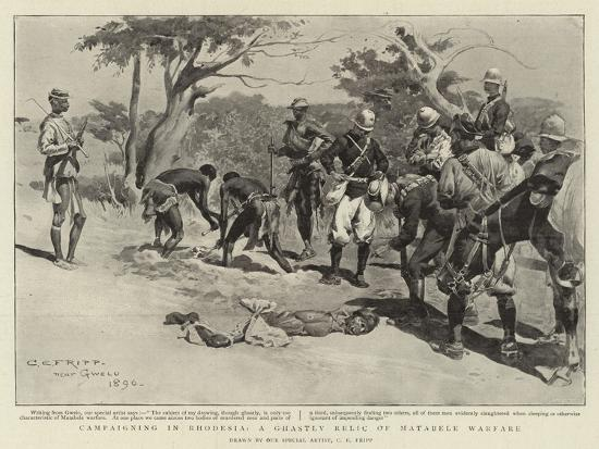 Campaigning in Rhodesia, a Ghastly Relic of Matabele Warfare-Charles Edwin Fripp-Giclee Print