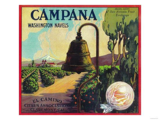 Campana Orange Label - Claremont, CA-Lantern Press-Art Print