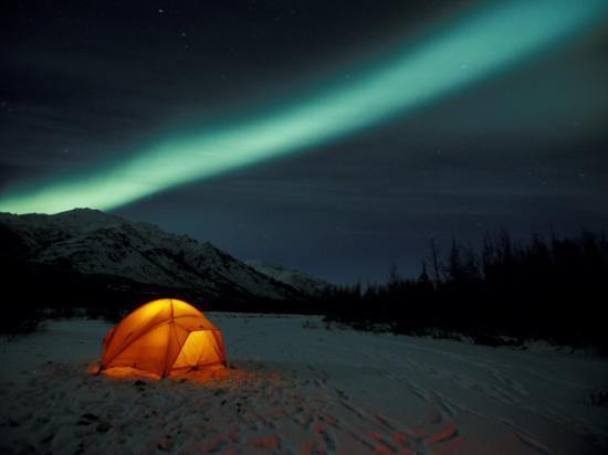 Camper's Tent Under Curtains of Green Northern Lights, Brooks Range, Alaska, USA-Hugh Rose-Photographic Print