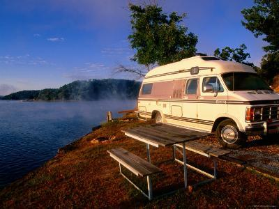Campervan Parked Beside Lake, Ozark National Park, Missouri-John Elk III-Photographic Print