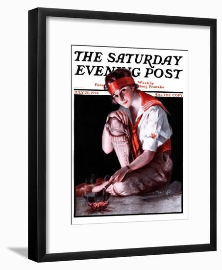 """""""Campfire Girl,"""" Saturday Evening Post Cover, July 26, 1924-Pearl L. Hill-Framed Giclee Print"""
