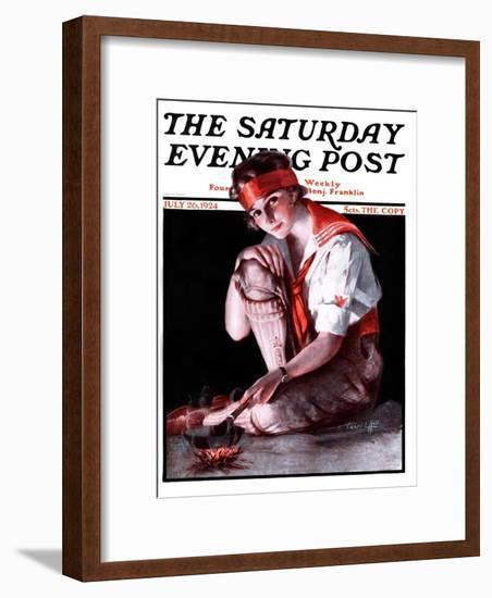 """Campfire Girl,"" Saturday Evening Post Cover, July 26, 1924-Pearl L. Hill-Framed Giclee Print"