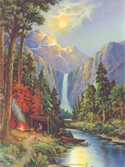 Camping by a Mountain Stream--Art Print