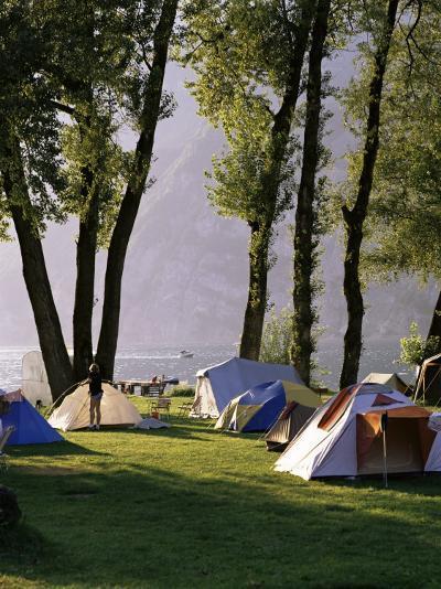 Camping on Wallensee, Churfirsten Range Near Wallenstadt, Switzerland-Walter Rawlings-Photographic Print