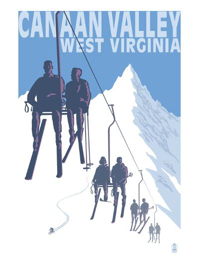 Canaan Valley, West Virginia - Skiers on Lift-Lantern Press-Art Print