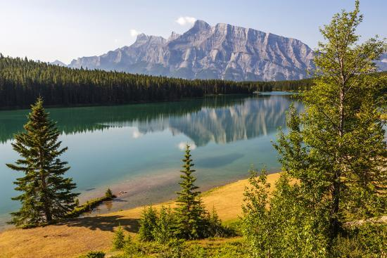 Canada, Alberta, Banff National Park, Two Jack Lake and Mount Rundle-Jamie & Judy Wild-Photographic Print