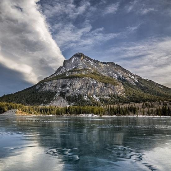 Canada, Alberta, Bow Valley Provincial Park, Mount Baldy and frozen Barrier Lake-Ann Collins-Premium Photographic Print