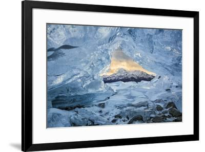 Canada, Alberta, Canadian Rockies. Small ice cave at Abraham Lake-Ann Collins-Framed Photographic Print