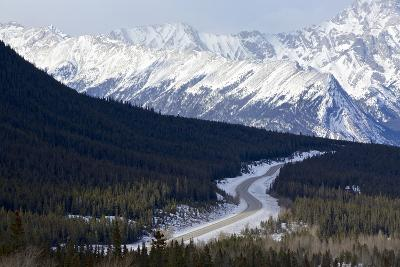 Canada, Alberta, Kootenay Plains. Road Through Mountain Landscape-Jaynes Gallery-Photographic Print
