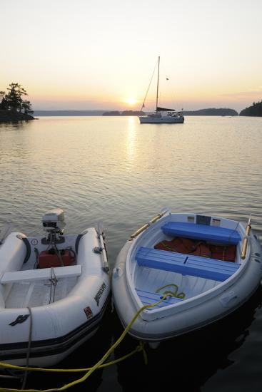 Canada, B.C., Gulf Islands, Wallace Island. Two Dinghy's at Sunset-Kevin Oke-Photographic Print