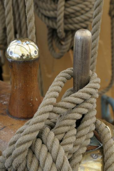 Canada, B.C, Victoria. Rigging Rope around a Peg on the Uscg Eagle-Kevin Oke-Photographic Print