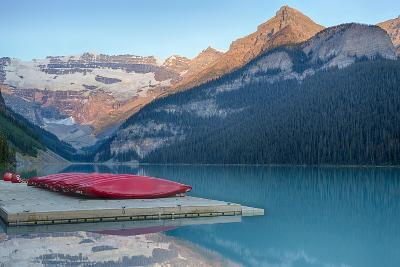 Canada, Banff NP, Lake Louise, Canoes at Boathouse Dock, Mt Victoria-Jamie & Judy Wild-Photographic Print