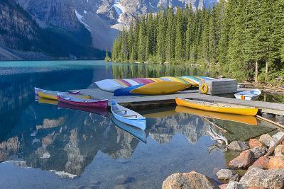 Canada, Banff NP, Valley of the Ten Peaks, Moraine Lake, Canoe Dock-Jamie & Judy Wild-Photographic Print