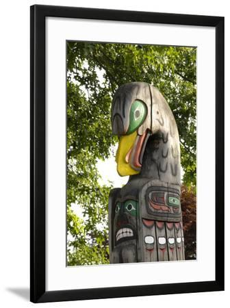 Canada, British Columbia, Vancouver Island. Eagle Above Bear Holding Fish-Kevin Oke-Framed Photographic Print