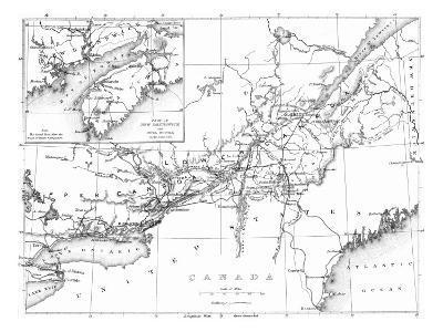 Canada, Detailed Map of Eastern Canada, New Brunswick, and Nova Scotia-Lantern Press-Art Print