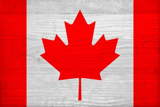 Canada Flag Design with Wood Patterning - Flags of the World Series-Philippe Hugonnard-Art Print