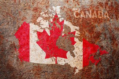 Canada Flag map-Michael Tompsett-Art Print