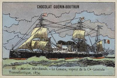 Canada, French Steamship of the Compagnie Generale Transatlantique, 1874--Giclee Print