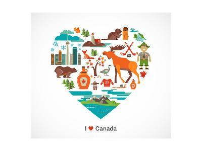 Canada Love - Heart With Many Icons And Illustrations-Marish-Art Print
