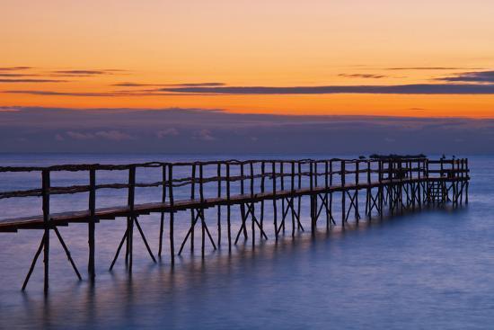 Canada, Manitoba, Winnipeg. Pier on Lake Winnipeg at dawn.-Jaynes Gallery-Photographic Print