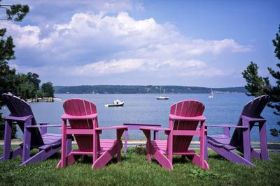 Canada, Nova Scotia, Mahone Bay, Colorful Adirondack Chairs Overlook the Calm Bay-Ann Collins-Photographic Print
