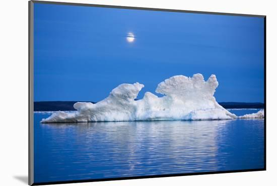 Canada, Nunavut, Moon Rises Behind Melting Iceberg in Frozen Channel-Paul Souders-Mounted Photographic Print