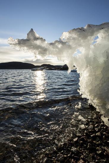 Canada, Nunavut Territory, Sunset Lights Melting Iceberg in Hudson Bay-Paul Souders-Photographic Print