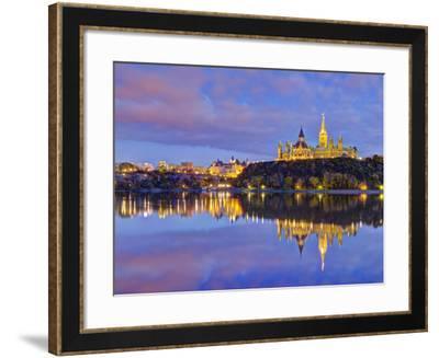 Canada, Ontario, Ottawa, Canadian Parliament across Ottawa River-Alan Copson-Framed Photographic Print