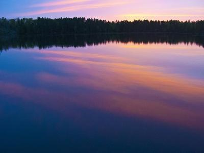 Canada, Ontario, Quetico Park, Lake Agnes Sunset Wilderness, Pink Sunset-Bernard Friel-Photographic Print