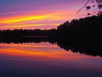 Canada, Ontario, Quetico Park, Lake Agnes Wilderness, Red Sunset-Bernard Friel-Photographic Print