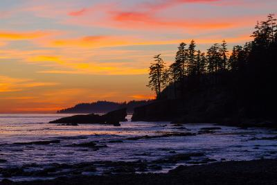Canada, Pacific Rim National Park Reserve, Sunset from Tsusiat Falls Beach Camp-Jamie And Judy Wild-Photographic Print