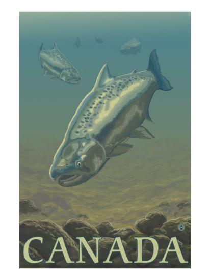 Canada, Salmon View-Lantern Press-Art Print