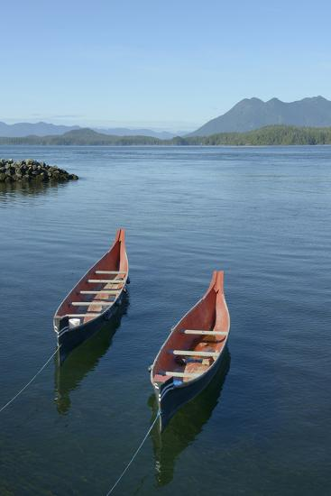 Canada, Vancouver Island. Native Canoes Anchored in Tofino Harbor-Kevin Oke-Photographic Print