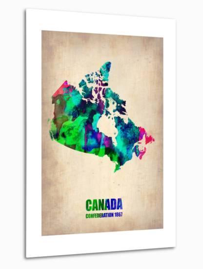 Canada Watercolor Map-NaxArt-Metal Print