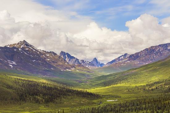Canada, Yukon. Landscape of Tombstone Range and North Klondike River.-Jaynes Gallery-Premium Photographic Print
