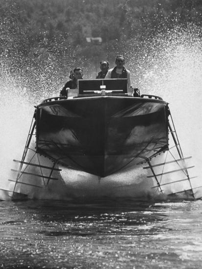 Canadian Navy Hydrofoil Boat, on the Test Run-Peter Stackpole-Photographic Print
