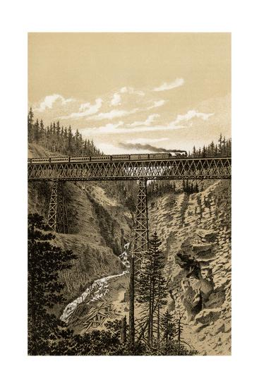 Canadian Pacific Railroad Trestle Over Stoney Creek, 296 Feet High, 1880s--Photographic Print