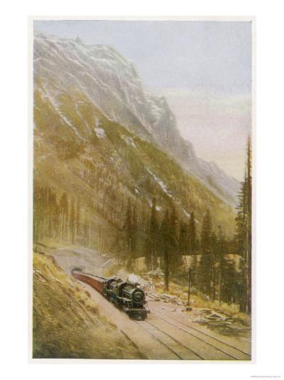 Canadian Pacific Railway Train Emerges from the Connaught Tunnel in the Selkirk Mountains--Giclee Print