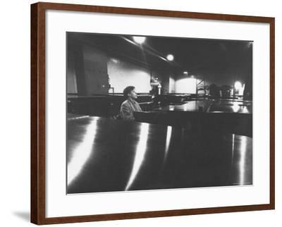 Canadian Pianist Glenn Gould Singing at Columbia Recording Studio-Gordon Parks-Framed Premium Photographic Print