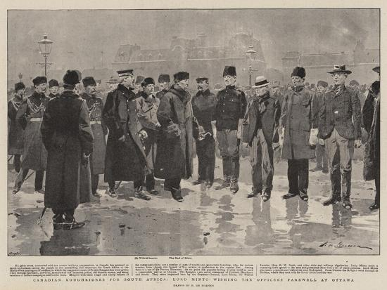 Canadian Roughriders for South Africa, Lord Minto Wishing the Officers Farewell at Ottawa-Frederic De Haenen-Giclee Print