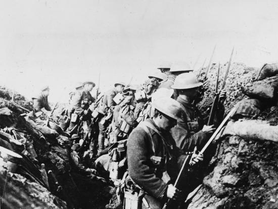 Canadian Troops Fix Bayonets in Preparation for a Raid on Enemy Lines, in the Somme Area-Robert Hunt-Photographic Print