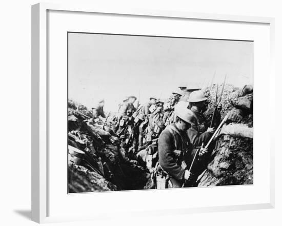 Canadian Troops Fix Bayonets in Preparation for a Raid on Enemy Lines, in the Somme Area-Robert Hunt-Framed Photographic Print