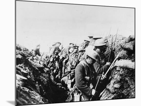 Canadian Troops Fix Bayonets in Preparation for a Raid on Enemy Lines, in the Somme Area-Robert Hunt-Mounted Photographic Print