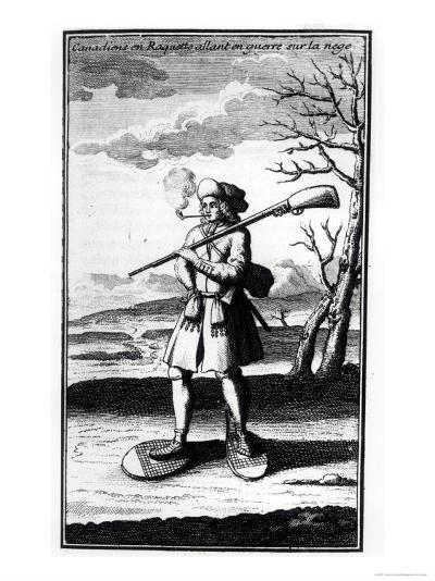 """Canadian with Snowshoes Going to War on the Snow, from """"Histoire De L'Amerique Septentrionale""""--Giclee Print"""